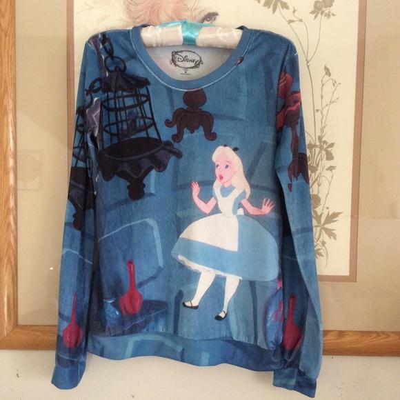 Disney Tops - D I S N E Y Alice in Wonderland Velour Long Sleeve